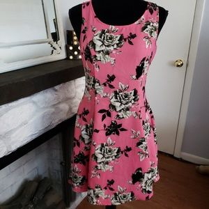 Divided pink floral fit and flare dress. Size 8